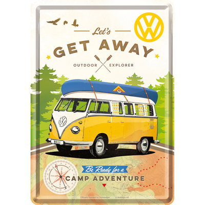 10293 Postikortti VW Bulli Let's Get Away