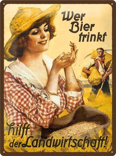 23162 Kilpi 30x40 Wer Bier trinkt... nainen