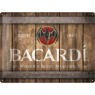 23289 Kilpi 30x40 Bacardi - Wood Barrel Logo