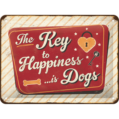 26237 Kilpi 15x20 The Key to Happiness... is Dogs