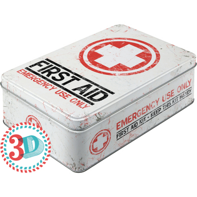 30704 Säilytyspurkki flat 3D First Aid Emergency use only