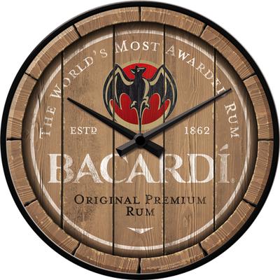 51201 Seinäkello Bacardi - Wood Barrel Logo
