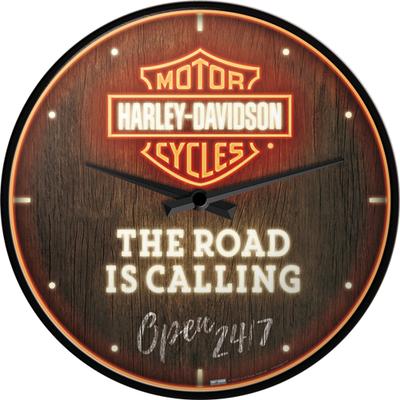 51202 Seinäkello Harley-Davidson - Road is Calling Neon