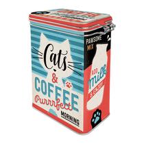 31125 Säilytyspurkki klipsillä Cats & Coffee